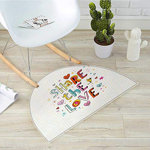 Love Half Round Door mats Share The Love Cheerful Childish Quote Smiling Hearts Singing Bird Notebook Page Style Bathroom Mat H 51.1