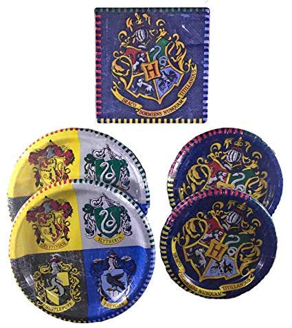 Harry Potter Party Supplies Childrens Birthday Party Tableware Pack And Adults For 16 Bundle - Includes 16 Dinner Plates, 16 Dessert Plates, and 16 Lu