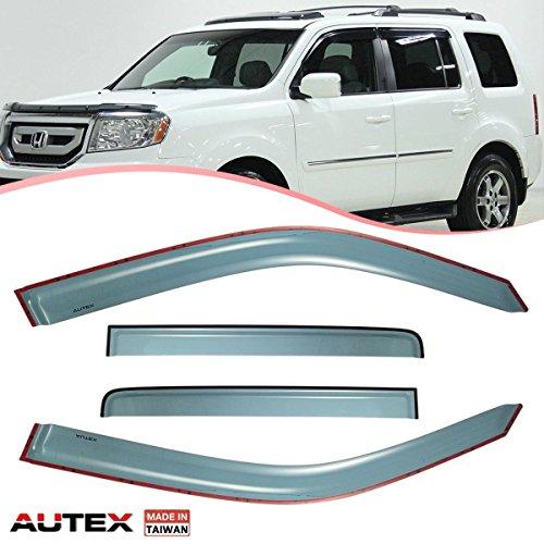 - AUTEX 4Pcs Tape On Window Visor Compatible with Honda Pilot 2010 2011 2012 2013 2014 2015 Side Window Deflectors Rain Guards