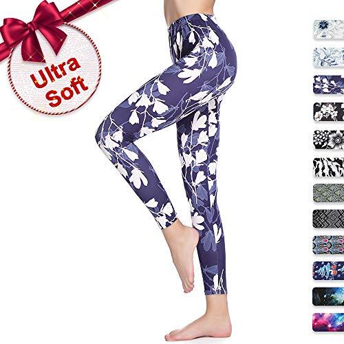 Print Leggings for Women Plus Size Soft with Design Floral Cute Under Pants Navy Blue