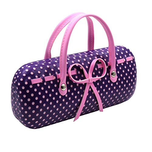 Purple Hard Eyeglass case for girls women Eyeglass Case with handles Mini handbag Eyeglass Case with cleaning cloth for Medium frames Small accessories| AS12TG Polka Dots Purple