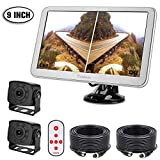 RV Backup Camera with 9inch Split Monitor Kit, 2 Wide Angle HD Small Size Rear View Cameras and Large Adjustable Monitor, Fit for Bus, Campers, Sprinter, 5th Wheel, Motorhome