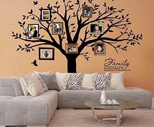 LSKOO Large Family Tree Wall Decal With Family Llike Branches on a Tree Wall Decals Wall Sticks Wall Decorations for Living Room (Black) by LSKOO (Image #6)