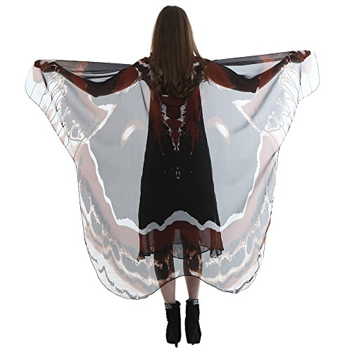 FarJing Women Scarf Scarves Long Butterfly Wing Cape Lady Soft Wrap Shawl Nymph Costume(Wine) ()