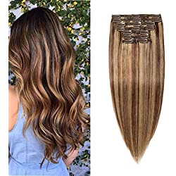 """Double Weft 100% Remy Human Hair Clip in Extensions Highlight 14''-22'' Grade 7A Quality Full Head Thick Long Soft Silky Straight 8pcs 18clips (16"""" / 16 inch 130g,#4/27 Medium brown/Dark Blonde)"""