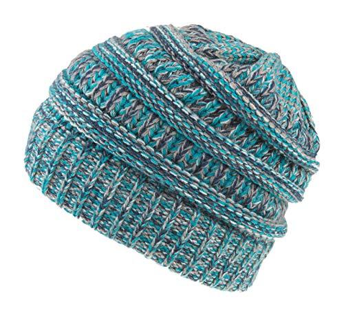 Spikerking Womens Motley Outlet Ponytail Hat High Bun Knit Warm Winter Beanie,Navy Blue Beige
