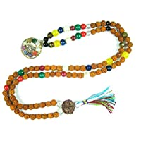 Yoga Mala Rudraksha Navgraha Beads Japa Mala Sri Yantra Pendant, Blessed & Energized Necklace