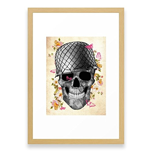 Society6 Skull Soldier Framed Print Conservation Natural SMALL (Small Print Framed Skull)