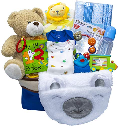 Joyful Arrival Deluxe Baby Gift Set (Girl or Boy) – Diaper Organizer, Baby Clothes & More (with Toys, Boy)