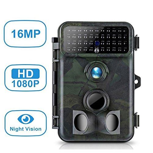 Tvird Trail Camera 16MP 1080P Wildlife Camera PIR Night Vision Game Camera 125° Detection Hunting Camera 66 ft Distance Game Hunting Camera with 2.4'' LCD Waterproof Protected IP66 by Tvird