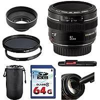 Canon EF 50mm f/1.4 USM Lens Bundle + UV Filter + Polarizer Filter + 2 In 1 Lens Cleaning Pen + High Speed 64GB Memory Card + Tulip Hood + Deluxe Lens Case
