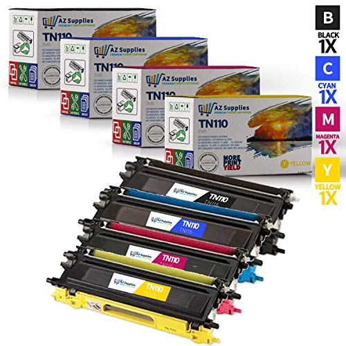 AZ Supplies © Premium OEM Quality Compatible With Brother TN-110 High Yield Toner Cartridge Set, High Yield Brother TN110BK, Brother TN110C, Brother TN110Y, Brother TN110M (High Yield Brother TN110 Black, ()