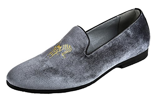 Mocassino Da Uomo Smoking Slipper Vintage In Velluto Ricamo Casual Slip-on Fannullone Nero Grigio Blu