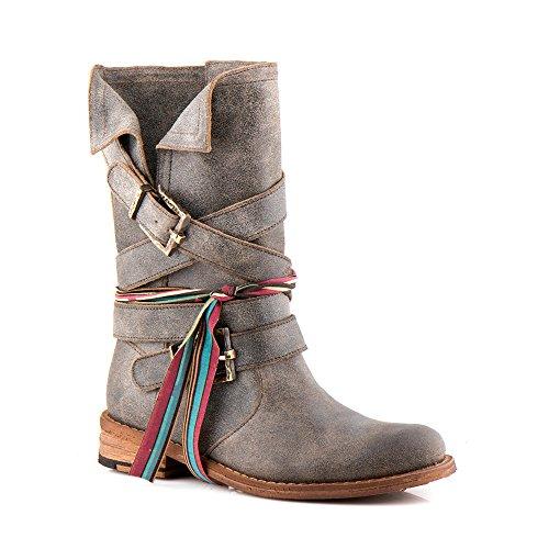 8562 Biker Echte Schuhe amp; Felmini Mehrfarbig Leder Hohe Stiefel Gredo Cowboy Damen Verlieben qIBUOw01