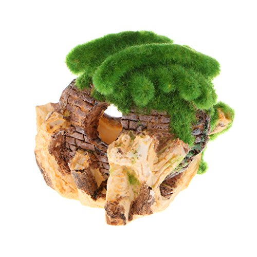 Jili Online Mini Cottage Hut with Green Moss Roof for Micro Landscaping Aquarium Underwater Decoration