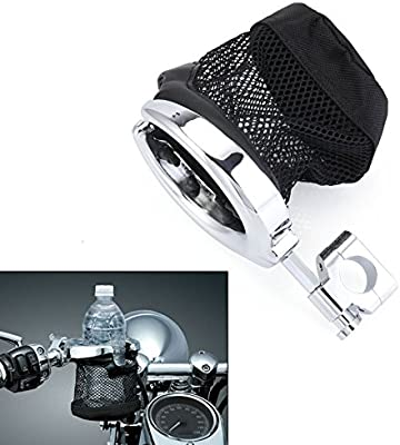 Silver Drink Cup Holder For Harley Davidson Sportster Softail Dyna Touring