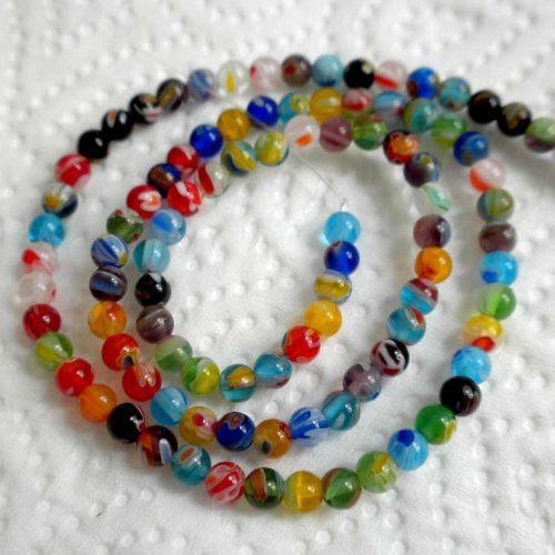 4mm Round 100 Unique Beads - Beading Station 100-Piece Tiny Millefiori Lampwork Glass Round Beads, 4mm