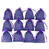 D'vine Dev 12 French Dried Lavender Sachets Craft Bag - Lavender Sachets for Wedding Toss, Home Fragrance Sachets for Drawers and Dressers, Lovely Dried Lavender Flower Buds Sachets
