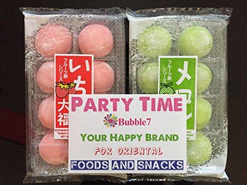 Japanese Mochi (Party Time) Fruits Daifuku (Rice Cake) Strawberry, Melon, Green Tea, Orange Flavors.