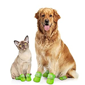 Waterproof Dog Boots | Reusable Silicone Pet Shoes, 4- Pack Adjustable Paw Protectors + Digital Guide to find and love your first Puppy by Pawefect (XL, Yellow)