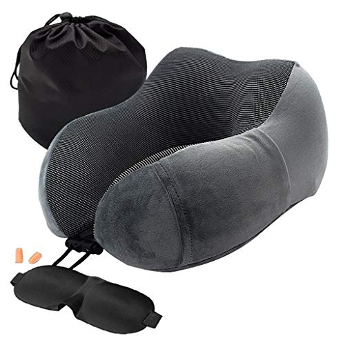 Finedayqi  Neck Pillow Aircraft Travel Memory Foam Support Office Head Rest Cushion New