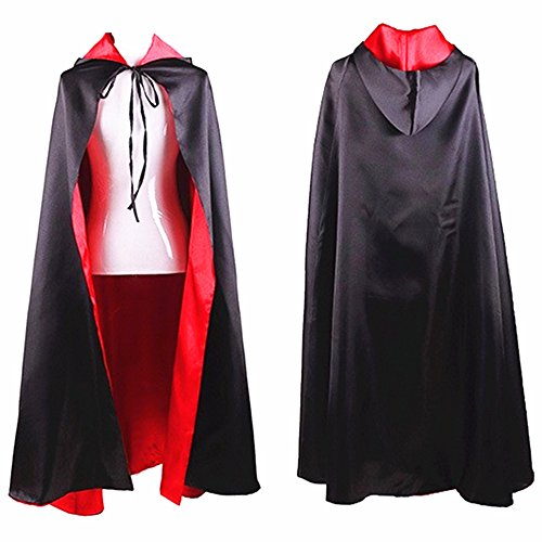 Reversible Halloween Cape Hoodie Cloak Vampire Witch Props for Masquerade Party T005