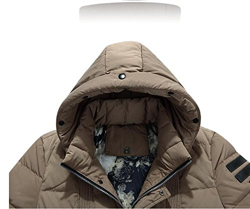 winter M warm men's In HHY hooded long the jacket Khaki AaUwpx