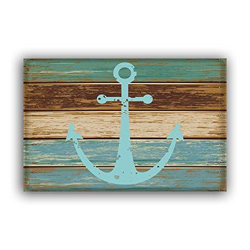 Cheap  Blue Nautical Anchor Rustic Old Barn Wood Doormats Non-Slip Indoor/Outdoor/Front Door Mat,18