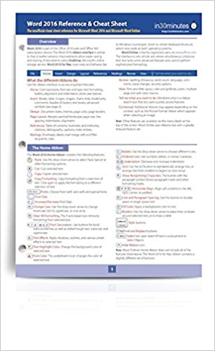 Word 2016 Reference and Cheat Sheet: The unofficial cheat sheet ...