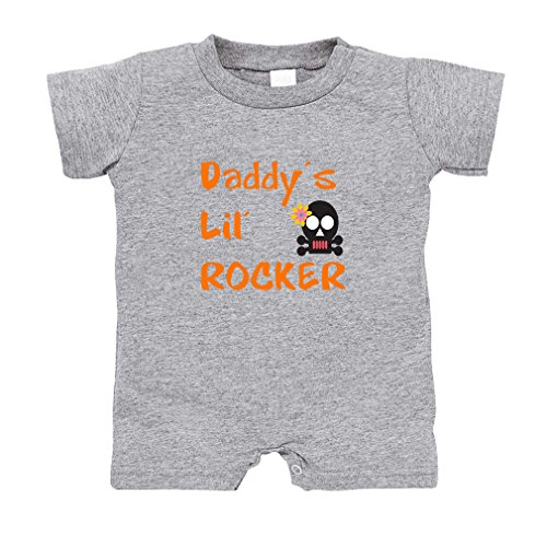 Cute Rascals Daddy s Lil Rocker Infant 100% Cotton T-Romper Jersey Tee - Oxford Gray, 12 (Oxford Rocker)