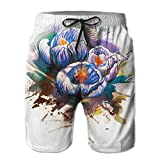 Men Drawstring Waist\r\n Drawstring Waist Watercolor Flower Background Quick-drying Board Shorts