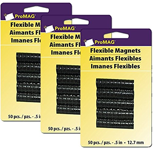 (ProMag Flexible Round Magnets, 0.5-Inch, 50-Pack (3) )