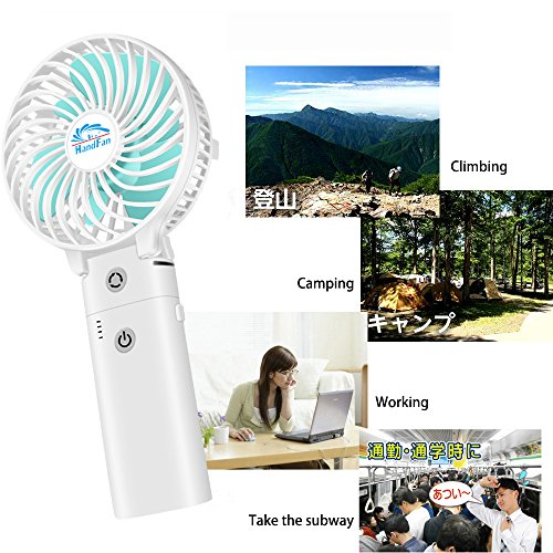 HandFan Portable Handheld Fan, Mini Hand Fan/Small Desk Fan Folding Change 5-18 Hours Working Time Personal Fan Rechargeable Battery/USB Operated Electric Fan Handle is 5200mA Power Bank(Power White) by HandFan (Image #6)