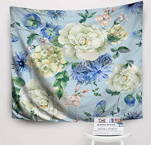 Cornflower Blue Natural - Crannel Christmas Vintage Watercolor Pattern Blue Blooming Wild Flowers Cornflowers Roses Watercolor Natural Tapestry 50x60 Inches Wall Art Tapestries Hanging for Dorm Room Living Home Decorative