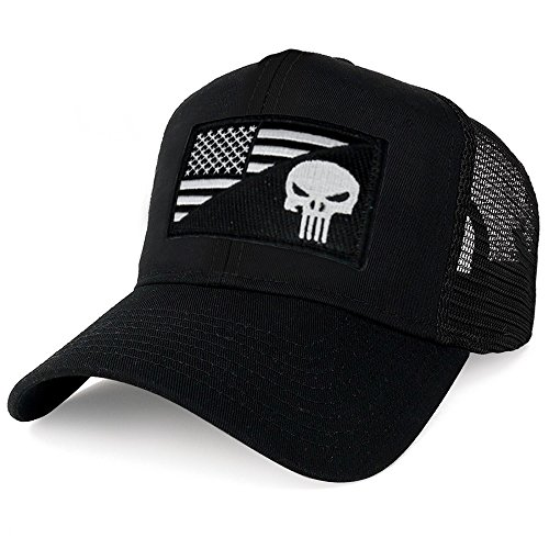 AC Racing USA American Flag Patch Snapback Trucker Mesh Cap - Black (One Size, Punisher Black - Cool Caps Trucker