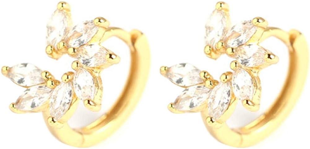 SoundsBeauty Fashion Earrings for Women Girls, Flower Rhinestone Inlaid Hoop Huggie Earrings Party Jewelry Gift