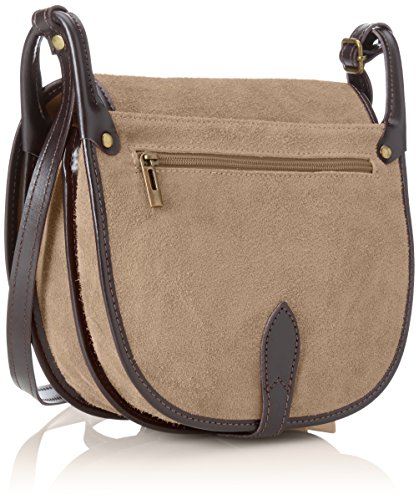 Made Bag In Italy Grey fango Genuine 26x23x8 Ctm Clutch Cm Woman's Small Leather Shoulder I6A8RZ
