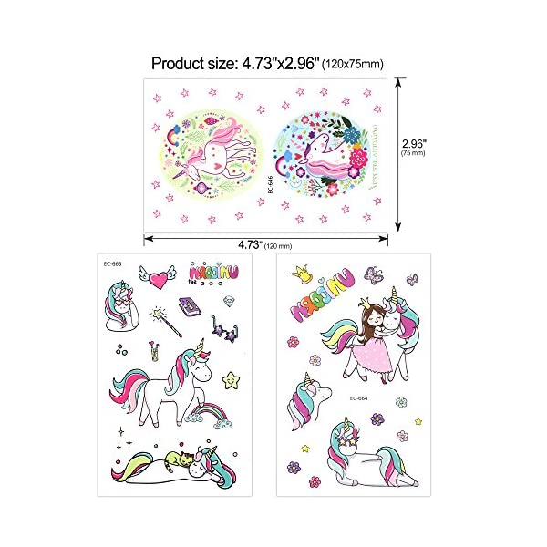 Girls Unicorn Temporary Tattoos, Konsait 145pcs Unicorn Tattoo Kids Unicorn Party Supplies Great Girls Party Favors For Children's Birthday Party Goody Bag Pinatta Fillers Beach Pool Party(13 Sheets) 3
