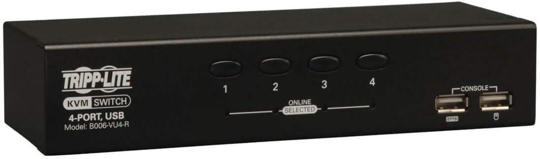 Tripp Lite 4-Port Desktop KVM Switch, USB, VGA HD15 (B006-VU4-R)