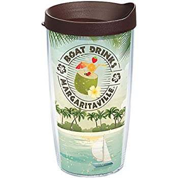 Tervis 1251706 Margaritaville Clear Parrot Pirate Tumbler with Wrap and Black Lid 16oz