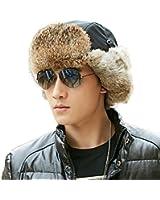 SIGGI 100% Rabbit Fur Trapper Trooper Hat for Men Russian Bomber Hat Ushanka