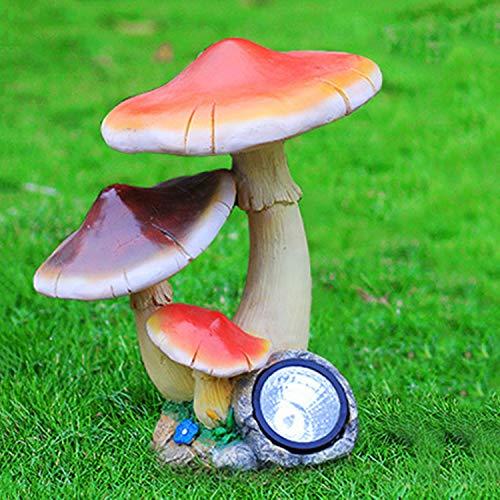 LOVEPET Mushroom Solar Light Outdoor Glass Steel Mushroom Ornaments Garden Simulation Sculpture Garden Ornament 38X30X41cm