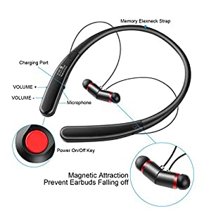 Simptech Wireless Bluetooth Headphones Neckband Headset - Sport Running Sweatproof In-Ear Earbuds,Noise Cancelling Earphones With Microphone,Maximum Comfort for iPhone 7 Plus Samsung S7 (HV990)