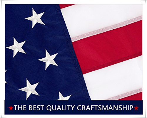 American Flag 3X5 Ft    Embroidered Stars   Sewn Stripes   Brass Grommets   Uv Protected   Heavyweight Oxford Nylon Built For Outdoor Use  3 By 5 Foot