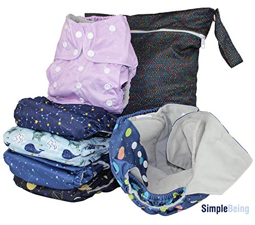 Simple Being Reusable Cloth Diapers, Double Gusset, One Size Adjustable, Washable Soft Absorbent, Waterproof Cover, Eco-Friendly Unisex Baby Girl Boy, six 4-Layers Microfiber Inserts (Constellation)