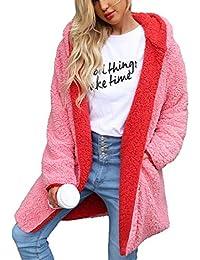 Women Reversible Long Fleece Hoodie Coat Oversized Faux Fur Sherpa Cardigan Outwear