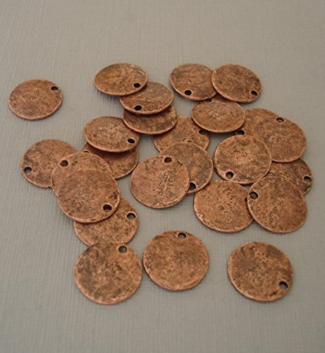 BeadsTreasure 20 Pcs- Antiqued Copper Plated Flat Round Disk Stamping Blanks Tag Charms for Jewelry Making.