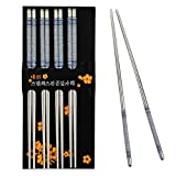 Rbenxia Metal Steel Chopstick Stainless Steel Flower Print Chopsticks 8.8 Inches Long Lightweight Chopstick Set Reusable Classic Style for Kitchen Dinner 5 Pairs