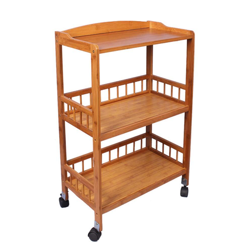 Soges Bamboo Kitchen Serving Storage Trolley 3 Tiers Kitchen Shelf on Wheels, Bathroom Rack, KS-ZC-06-CA PRC