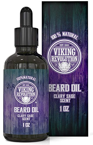 BEST DEAL Beard Oil Conditioner - All Natural Clary Sage Scent with Organic Argan & Jojoba Oils - Promotes Beard Growth - Softens & Strengthens Beards and Mustaches for Men …